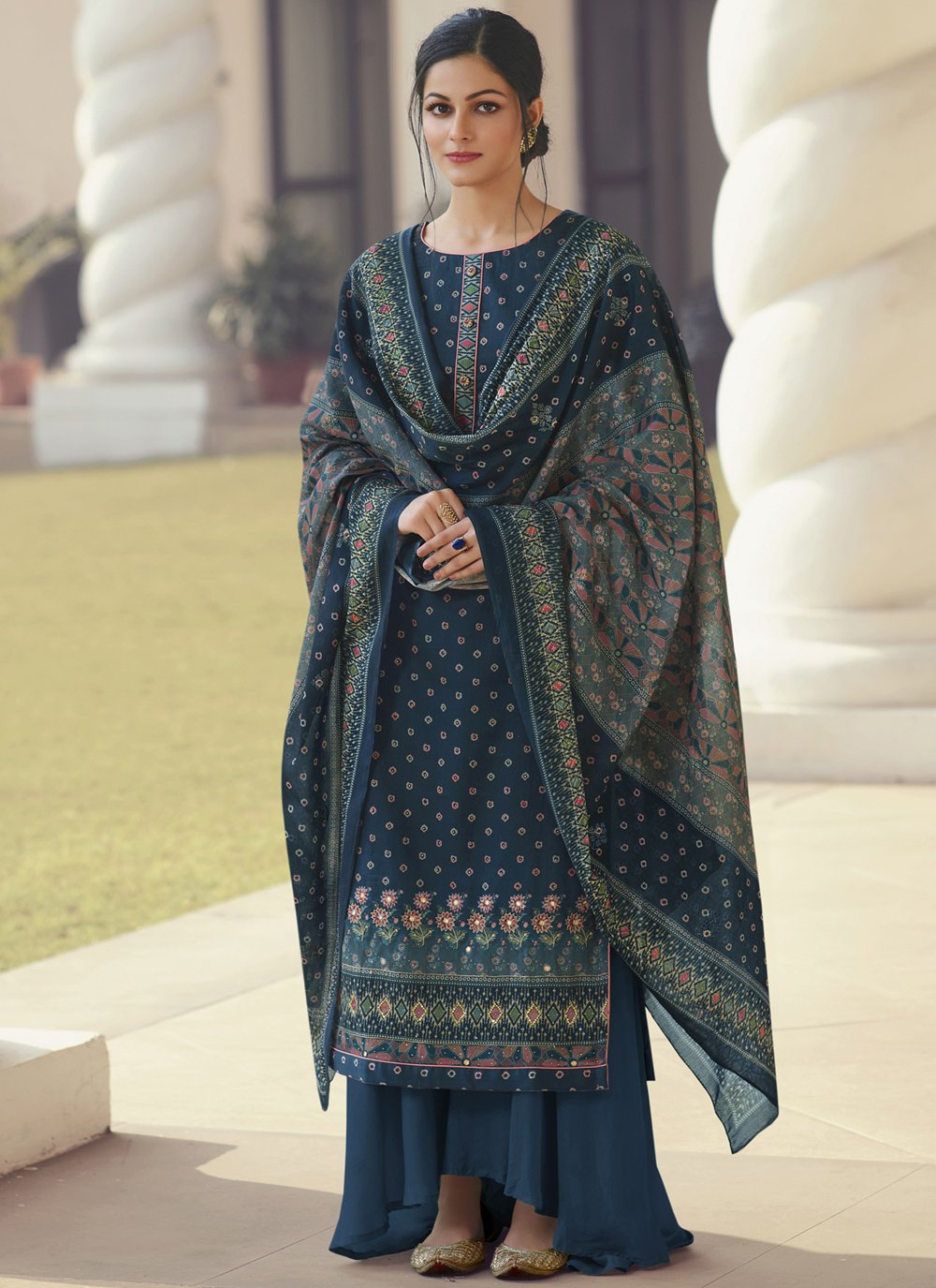 Printed Navy Blue Satin Designer Palazzo Suit