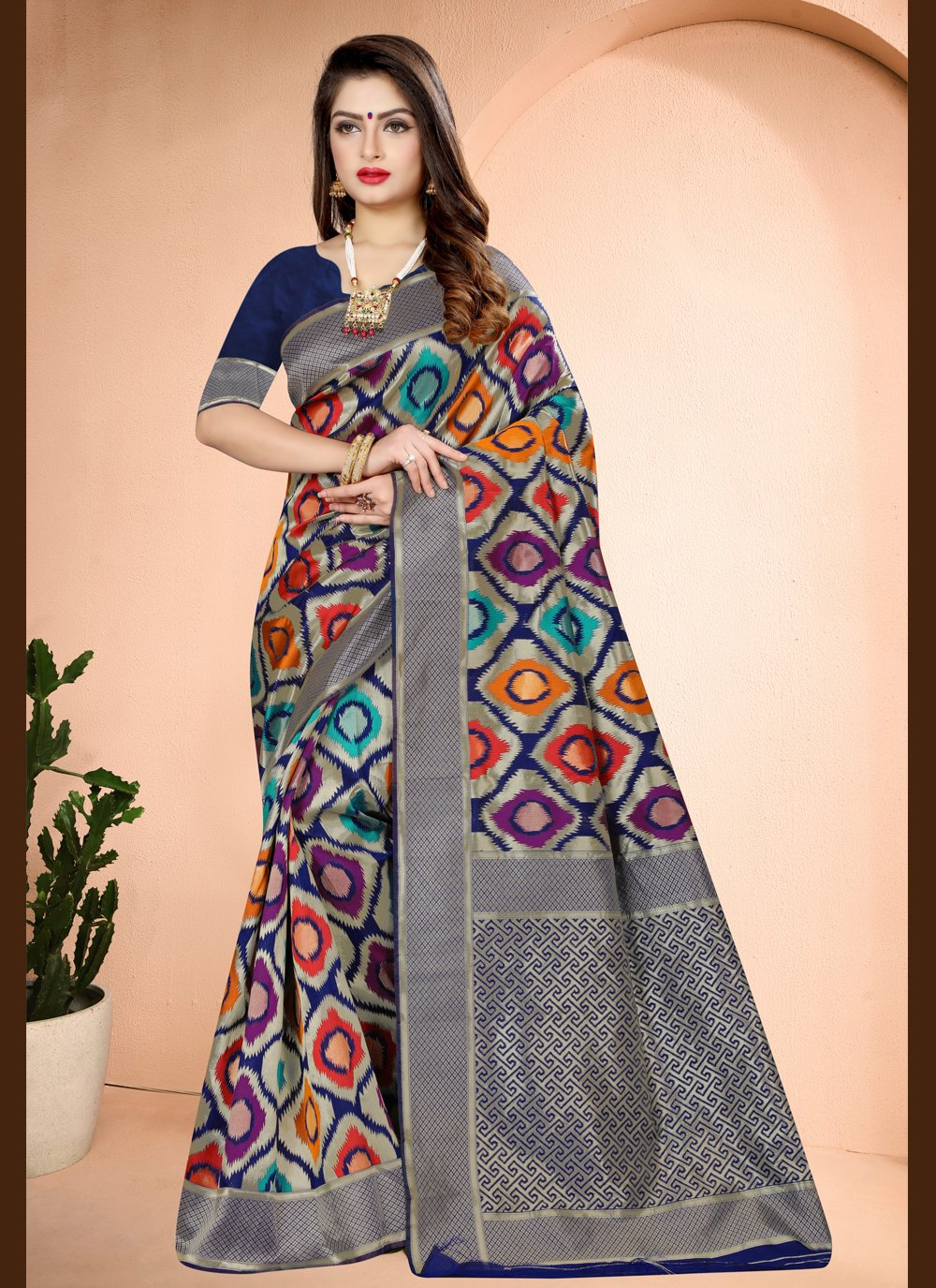 Printed Navy Blue Traditional Designer Saree