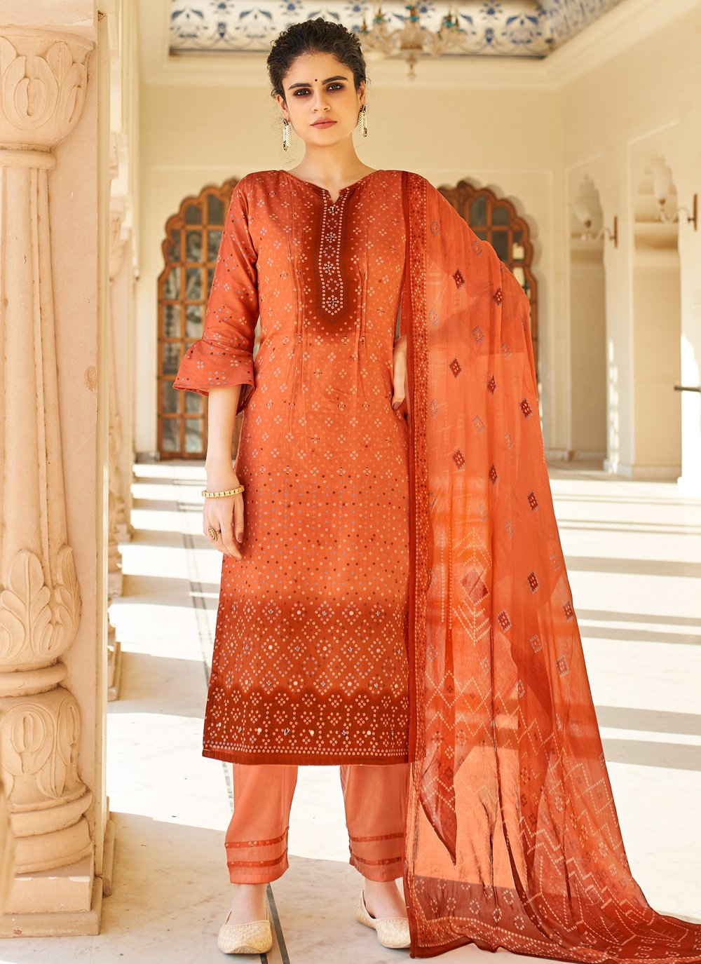 Printed Orange Designer Palazzo Salwar Kameez