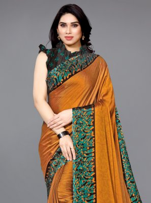 Printed Orange Faux Chiffon Traditional Saree