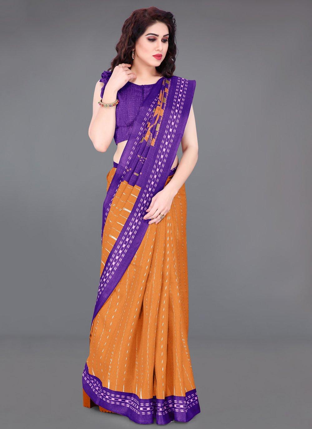 Printed Orange Khadi Silk Printed Saree