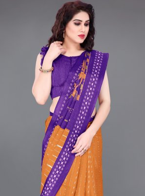 Printed Orange Khadi Silk Printed Saree