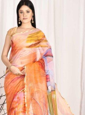 Printed Organza Multi Colour Printed Saree
