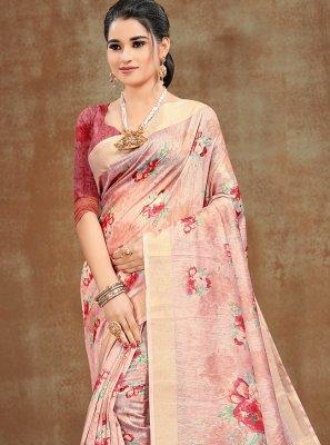 Printed Pink Cotton Printed Saree