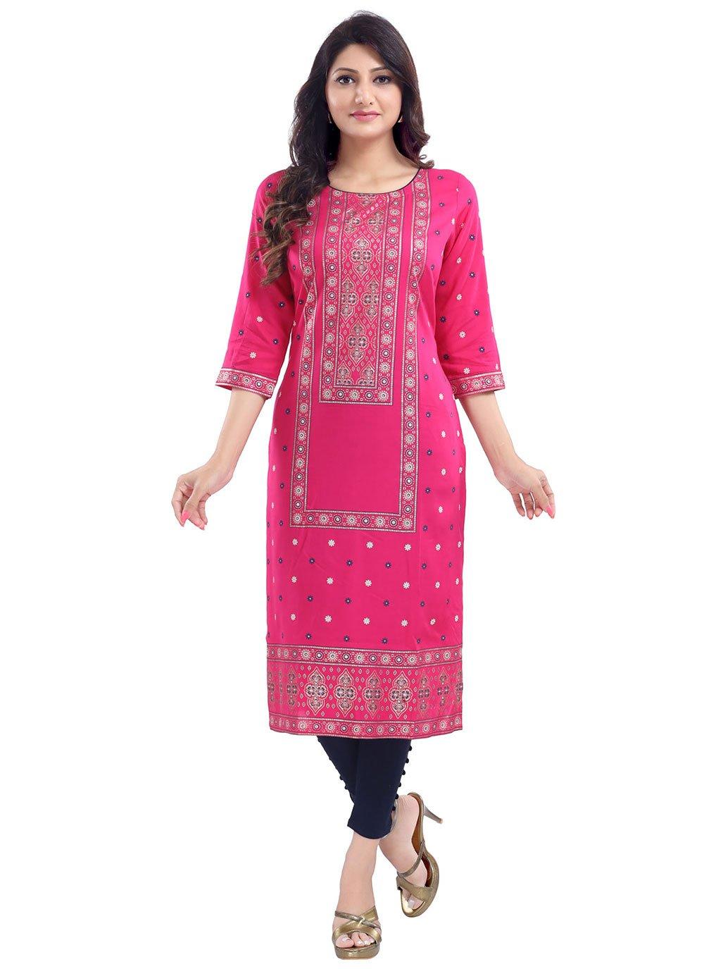 Printed Pink Rayon Casual Kurti
