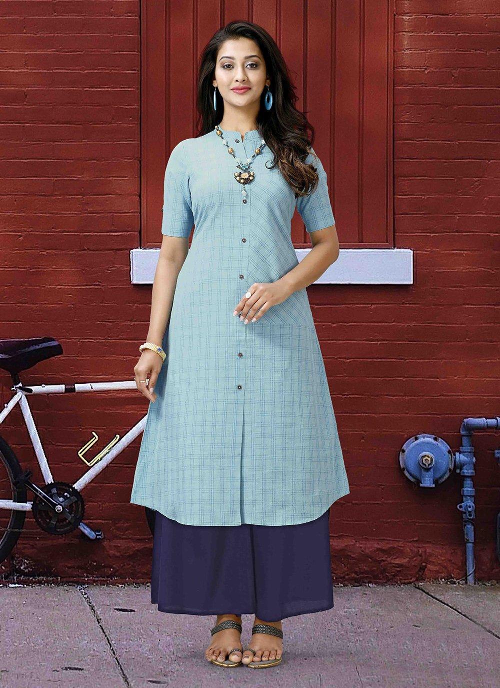 Printed Poly Cotton Designer Kurti in Aqua Blue