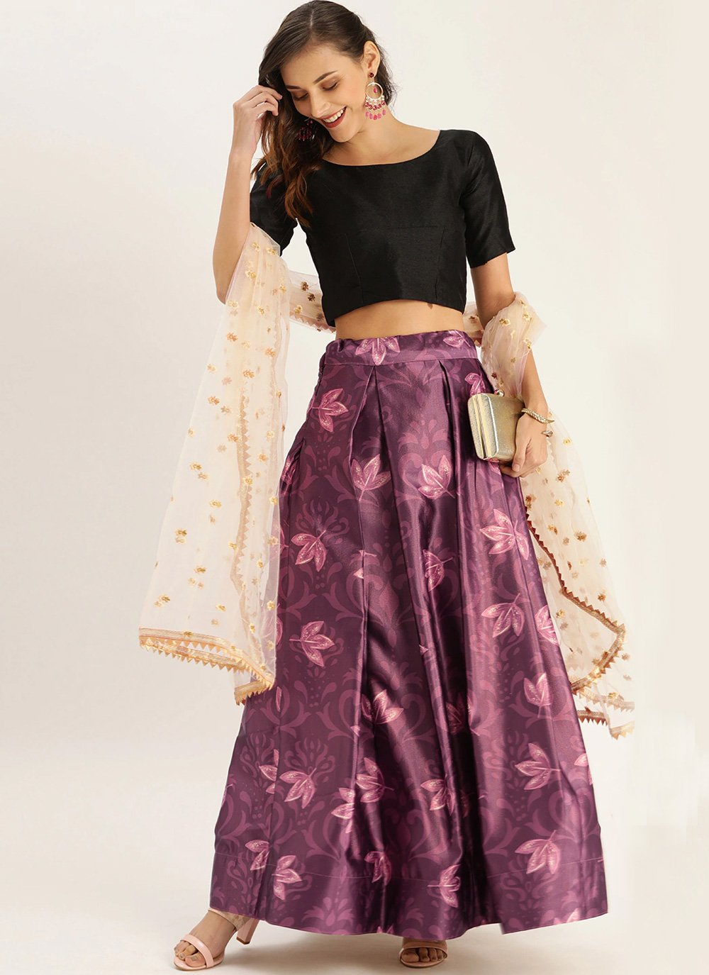 Printed Purple Bollywood Lehenga Choli