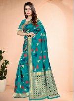 Printed Rama Art Banarasi Silk Traditional Saree