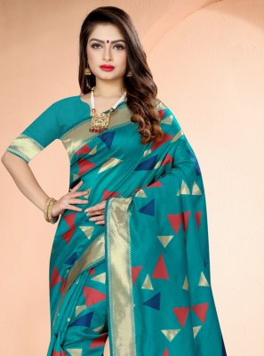 Printed Rama Art Banarasi Silk Traditional Saree