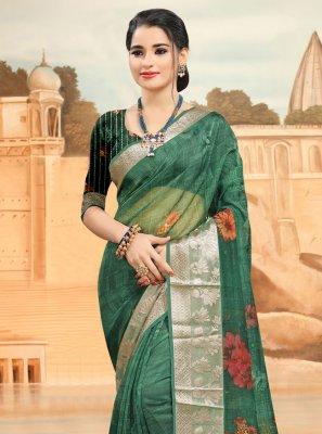 Printed Rama Printed Saree