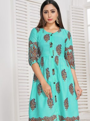 Printed Rayon Party Wear Kurti