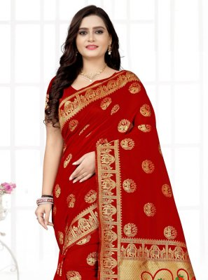 Printed Red Fancy Fabric Printed Saree