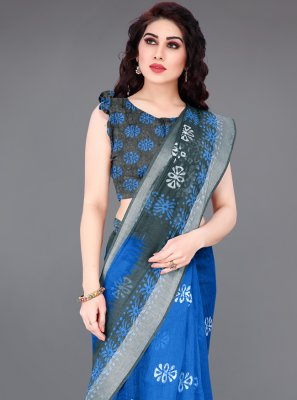 Printed Saree Abstract Print Cotton in Blue