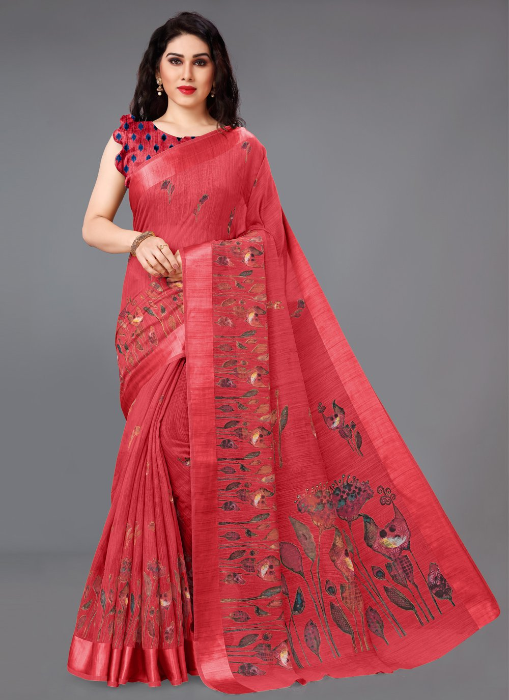 Printed Saree Abstract Print Cotton in Red
