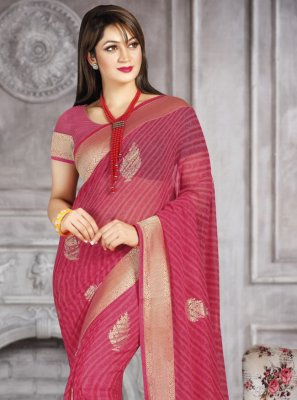 Printed Saree Abstract Print Faux Georgette in Hot Pink