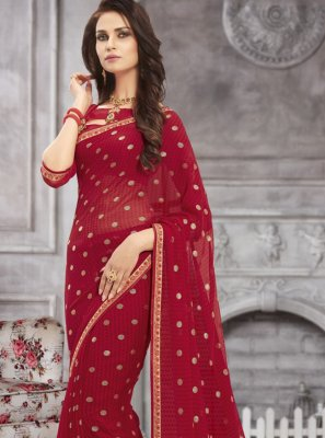 Printed Saree Abstract Print Faux Georgette in Maroon