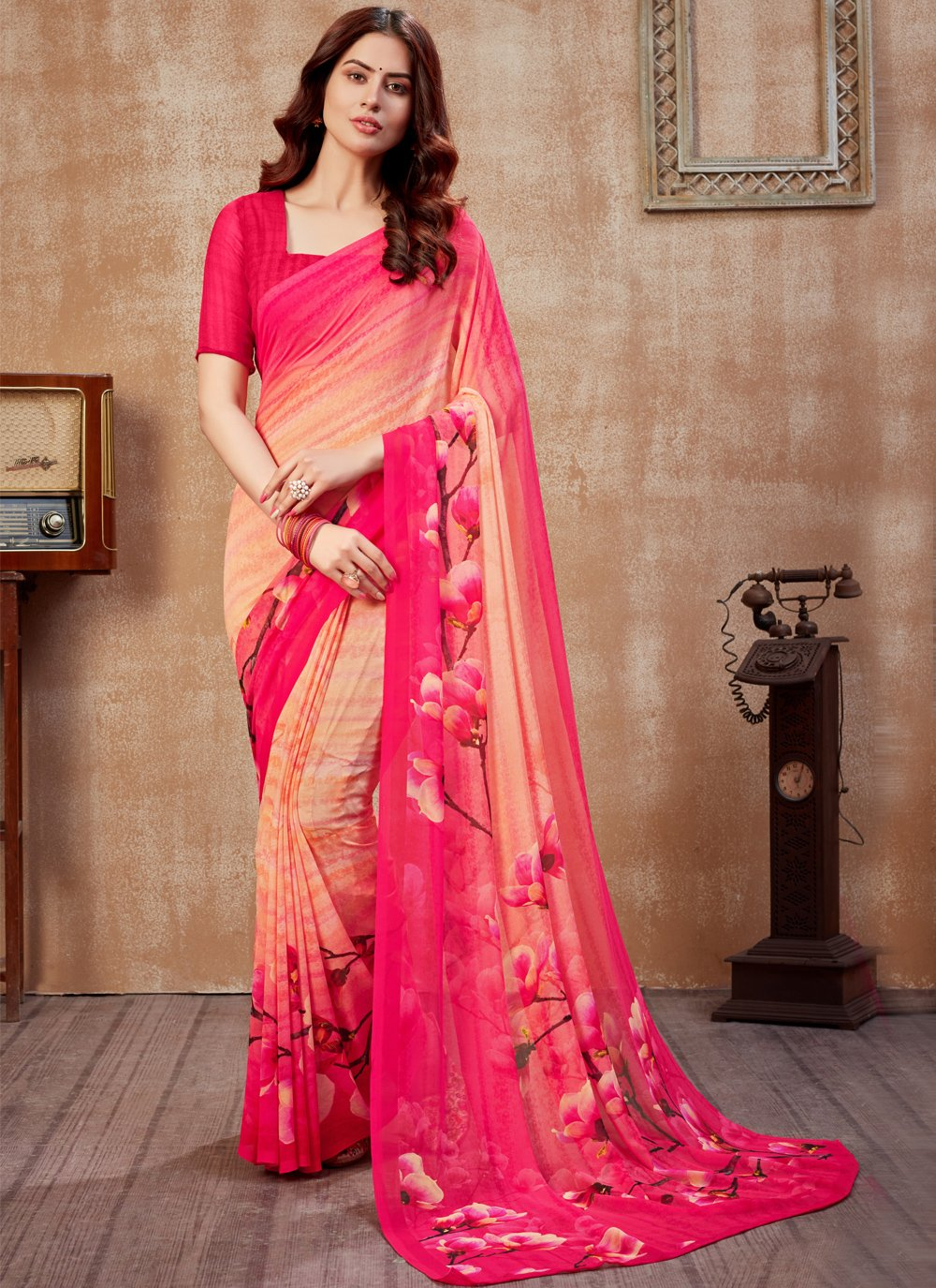 Printed Saree Abstract Print Faux Georgette in Multi Colour