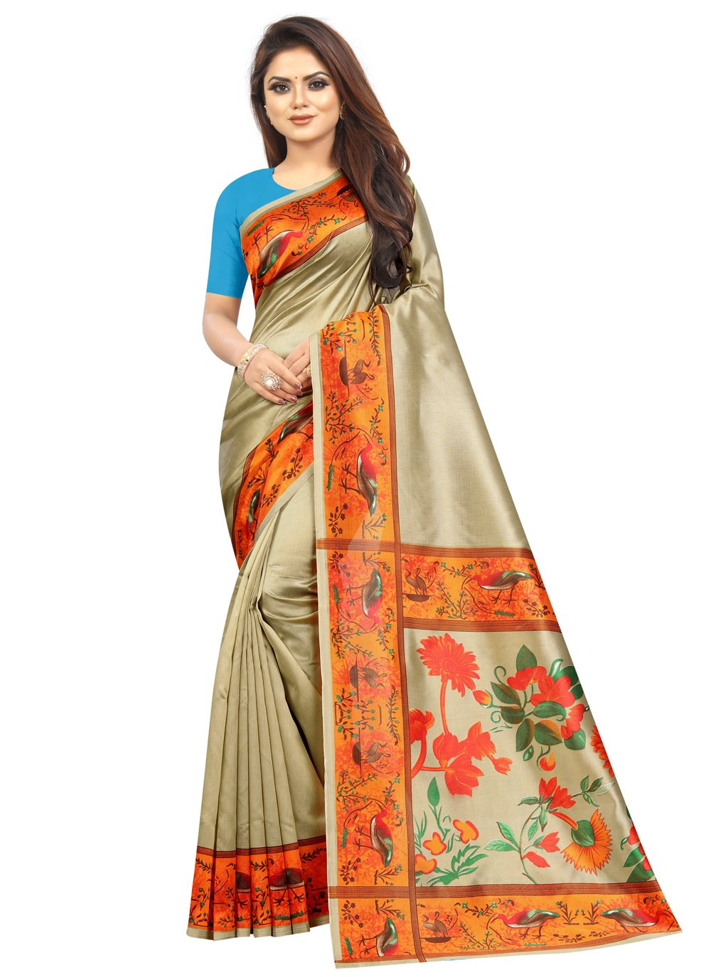 Printed Saree Abstract Print Raw Silk in Multi Colour