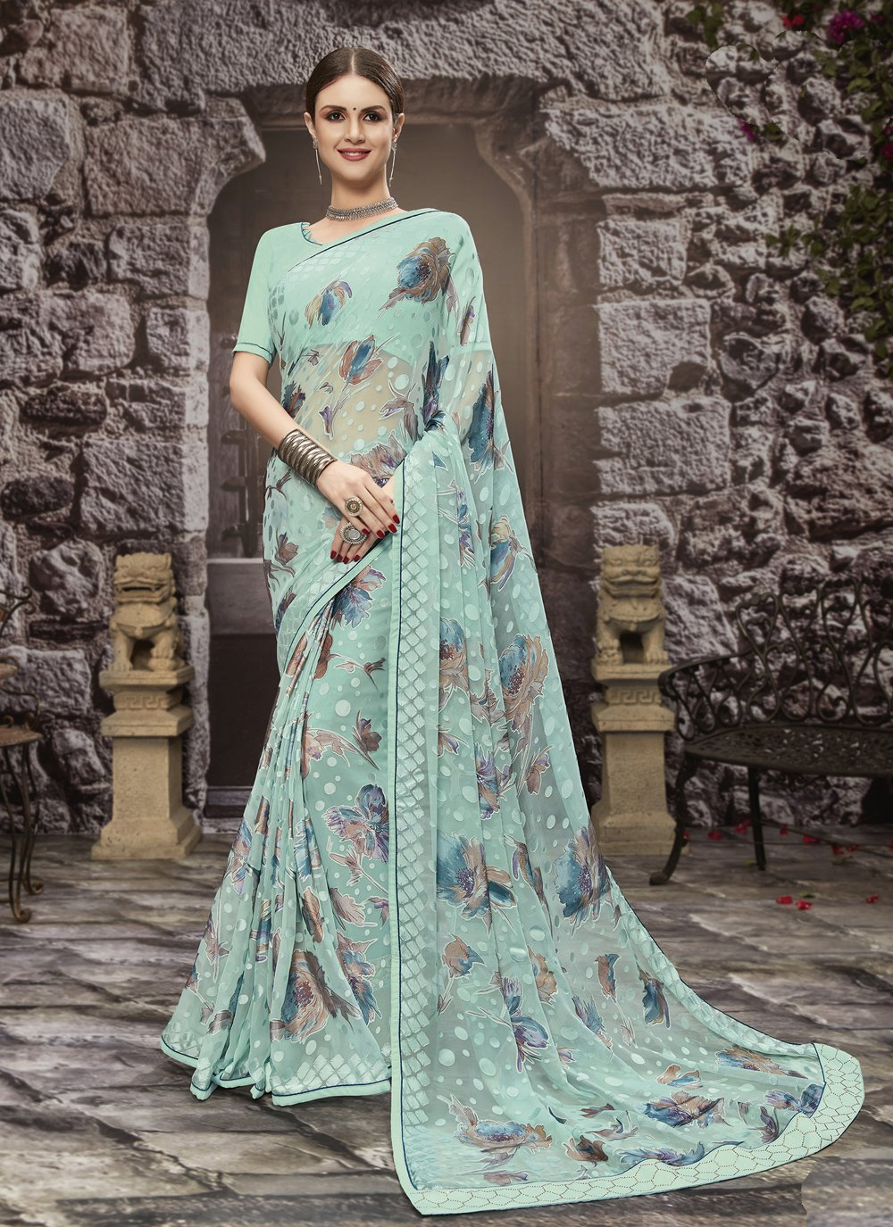 Printed Saree Abstract Print  Tissue Brasso in Aqua Blue