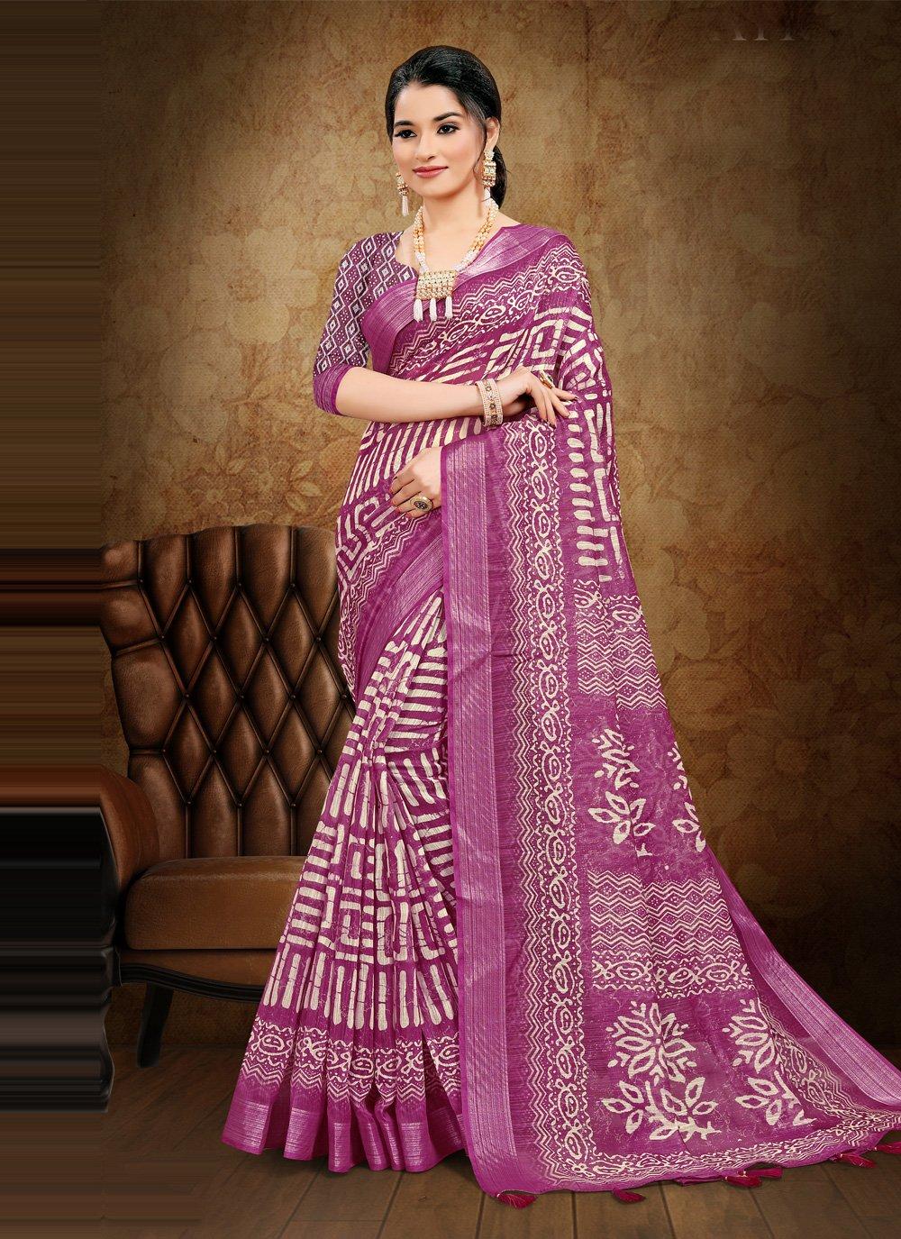 Printed Saree Digital Print Cotton in Magenta