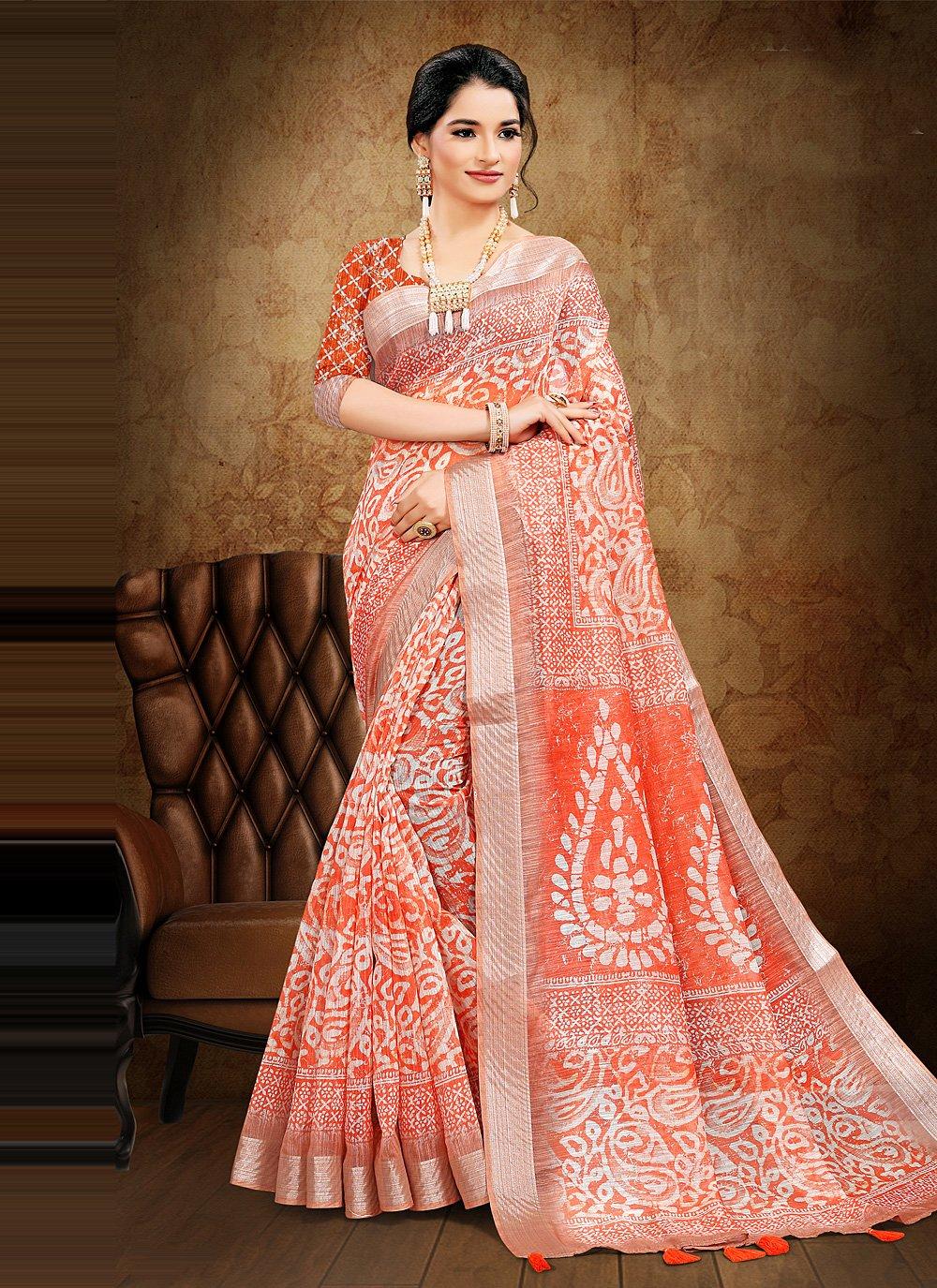 Printed Saree Digital Print Cotton in Peach