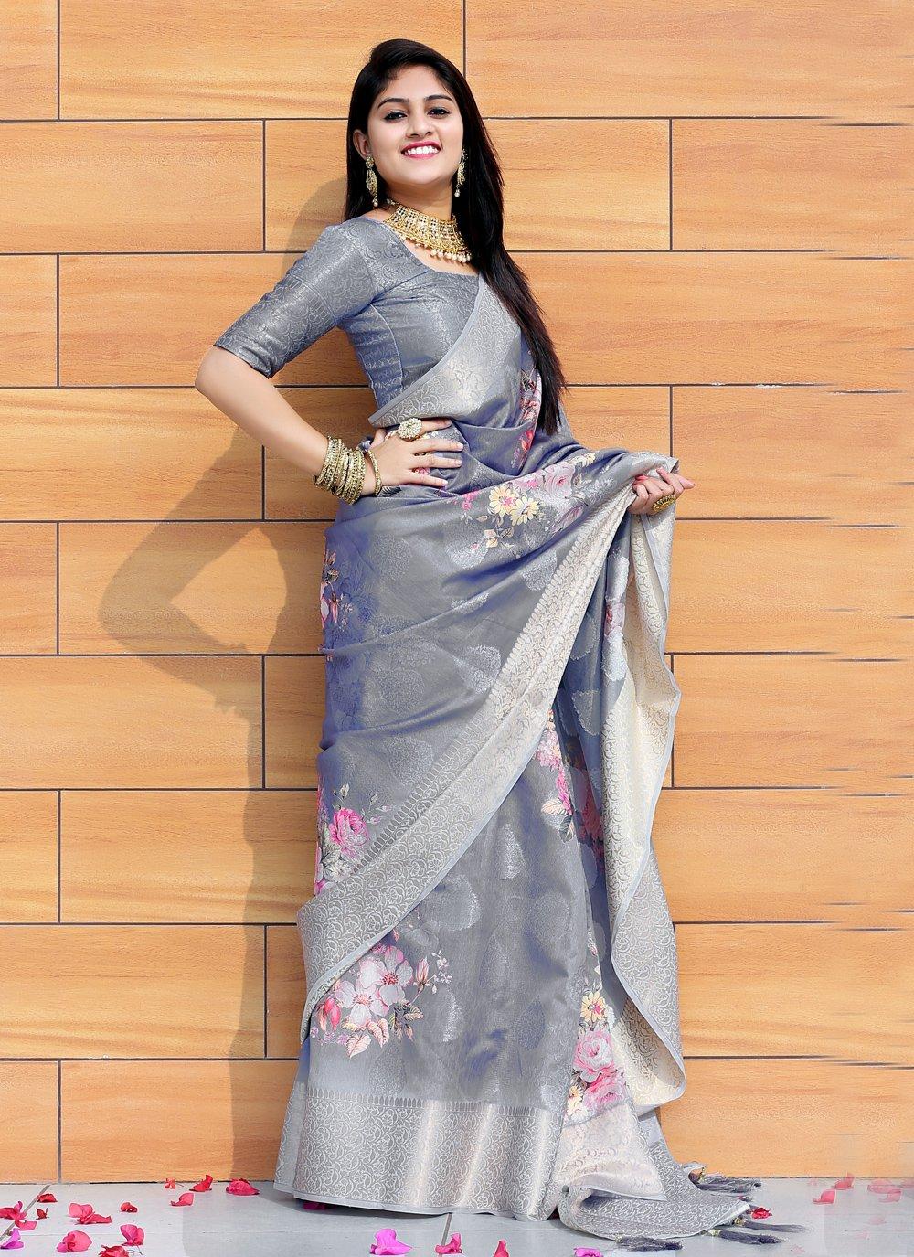 Printed Saree Digital Print Silk in Multi Colour