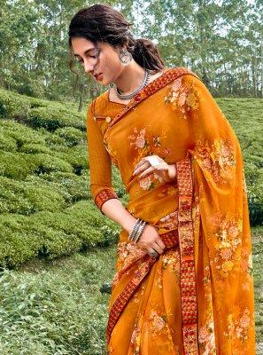 Printed Saree Floral Print Faux Georgette in Multi Colour