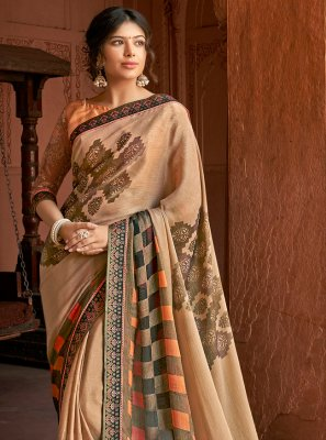 Printed Saree Floral Print Silk in Beige