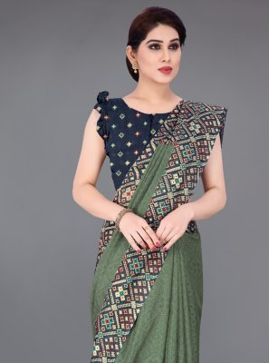 Printed Saree Foil Print Fancy Fabric in Green