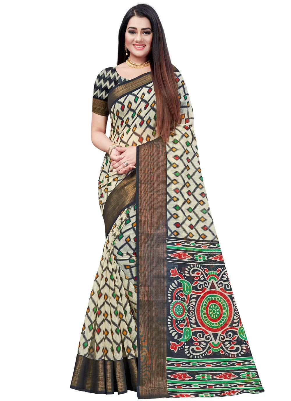 Printed Saree Printed Cotton in Black
