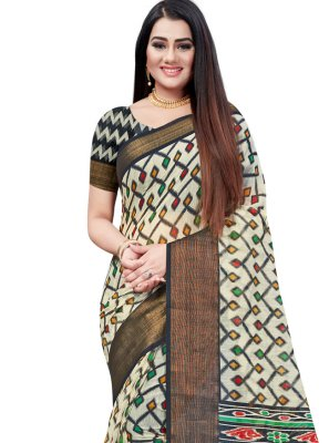 Printed Saree Printed Cotton in Black