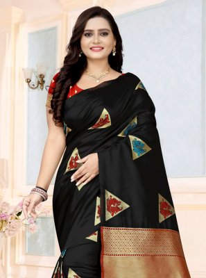 Printed Saree Printed Fancy Fabric in Black