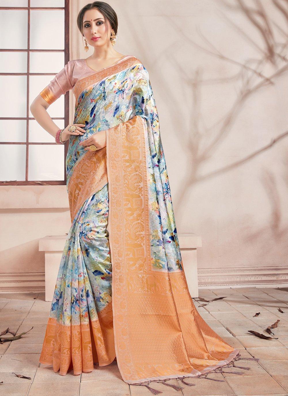 Printed Saree Woven Art Banarasi Silk in Multi Colour