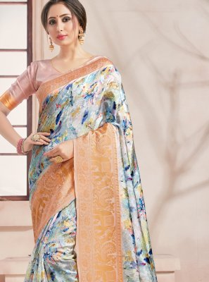 Printed Saree Woven Art Banarasi Silk in Multi Colour