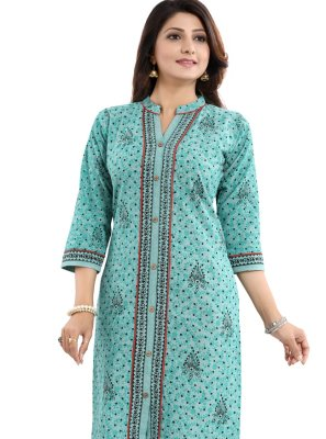 Printed Sea Green Casual Kurti