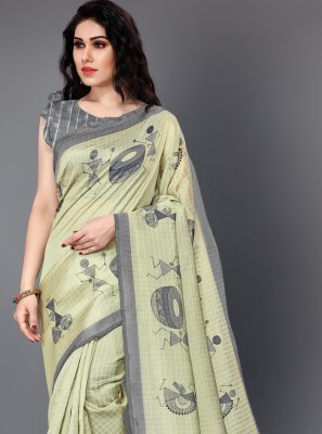 Printed Silk Beige Traditional Saree