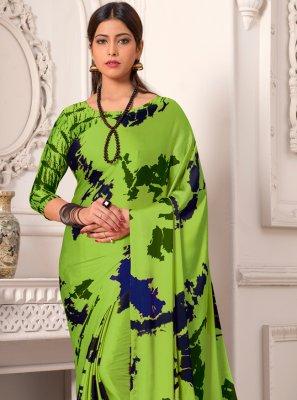 Printed Silk Classic Saree in Green