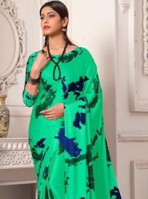 Printed Silk Contemporary Saree in Green