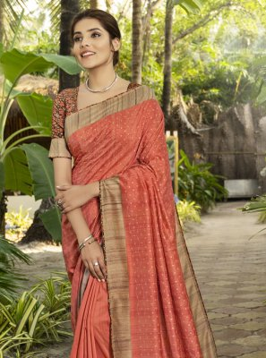 Printed Silk Traditional Designer Saree in Salmon