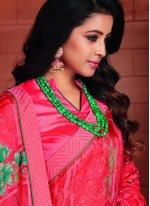 Printed Tissue Hot Pink Printed Saree