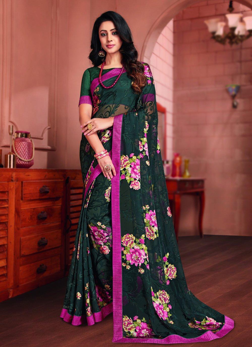 Printed Tissue Multi Colour Printed Saree