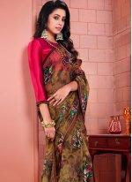 Printed Tissue Printed Saree in Brown