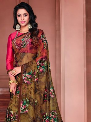 Printed Tissue Printed Saree in Brown