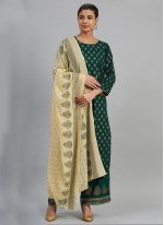 Printed Viscose Designer Salwar Suit in Sea Green