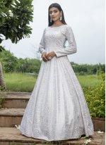 Printed White Designer Gown