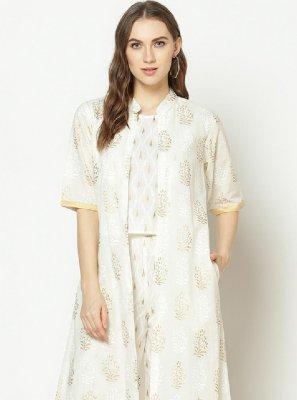 Printed White Party Wear Kurti