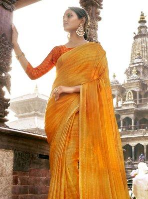 Printed Yellow Faux Chiffon Classic Saree