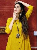 Printed Yellow Rayon Designer Kurti