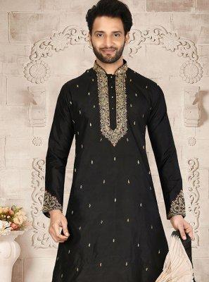 Pure Silk Black Dhoti Kurta
