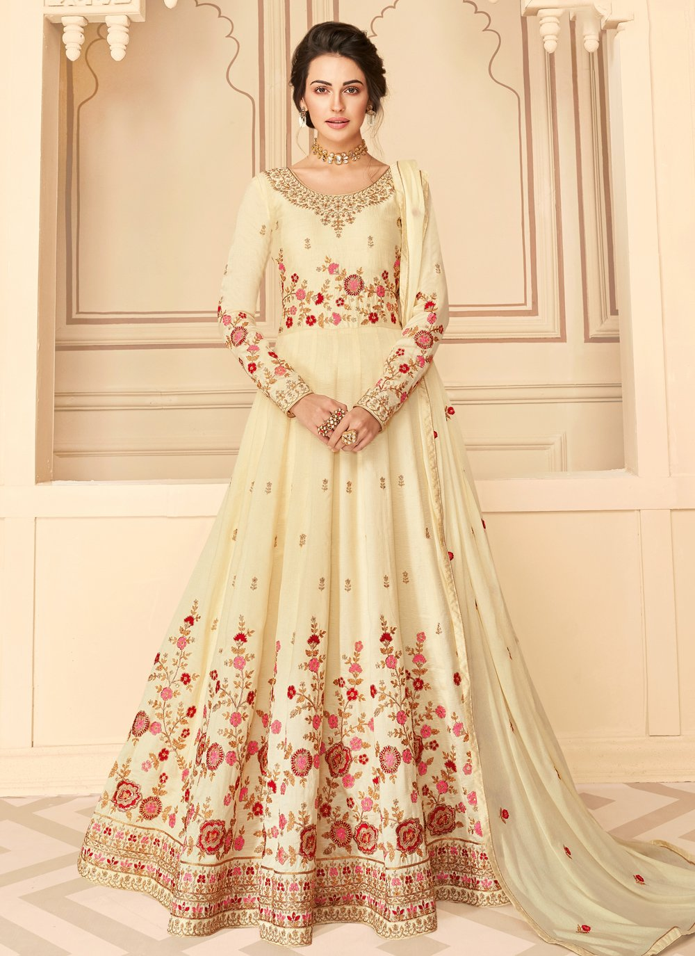 Pure Silk Cream Designer Floor Length Suit